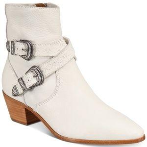 Frye Ellen Buckle Short Boots NEW White Bootie 8M